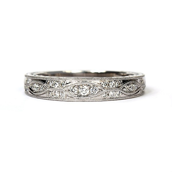18K White Gold Vintage Style Diamond Wedding Ring $1979 #sylvie #hudson_poole_jewelers