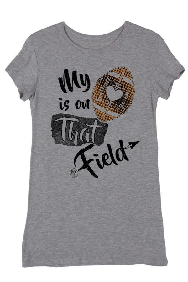 My Heart Is On That Field Heather Grey Short Sleeve Football Top