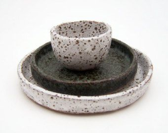 Rustic Tapas Set - Stoneware Tapas Plates - Speckled Pottery - Ceramics and Pottery - Ceramic Bowl
