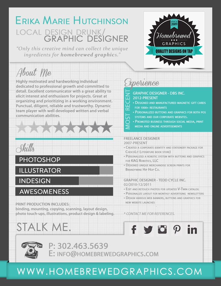 infographic resume erika m hutchinson homebrewed graphics