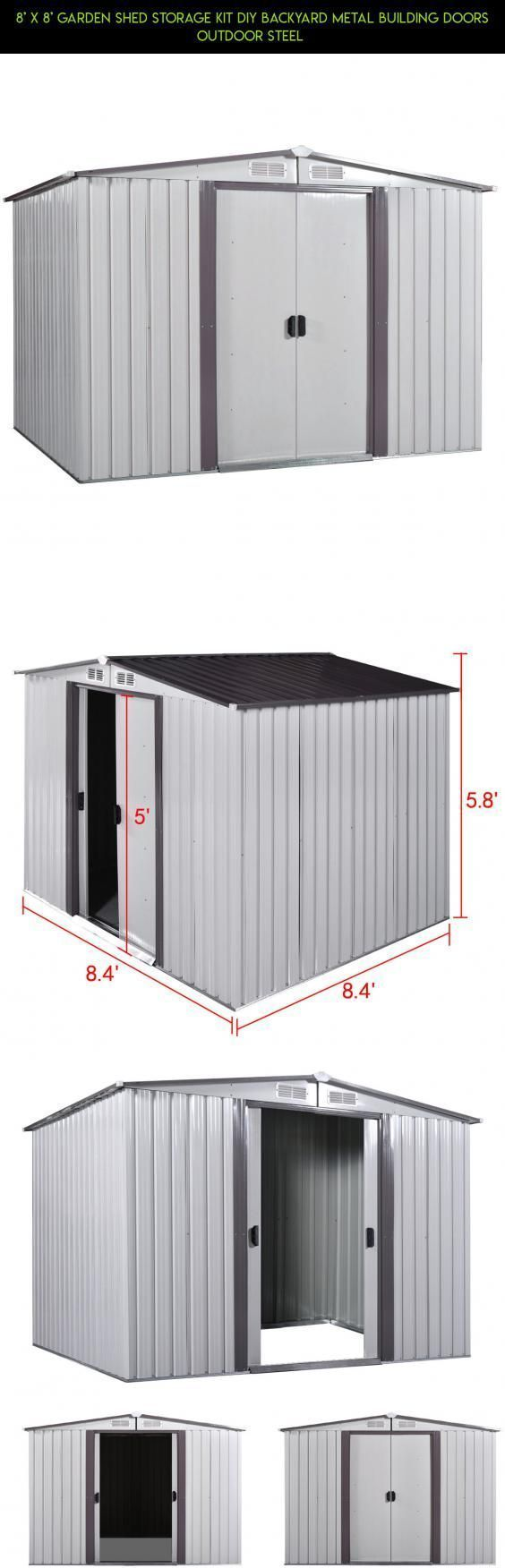 8' x 8' Garden Shed Storage Kit DIY Backyard Metal Building Doors Outdoor Steel  #kit #storage #camera #products #tech #fpv #racing #shopping #drone #gadgets #plans #parts #technology #8x8 #DIYShed8x8
