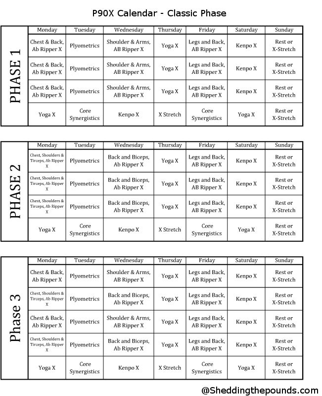 Here is a printable format of the p90x calendar. There are various versions for you to download and print. Below is a PDF version of all the calendars