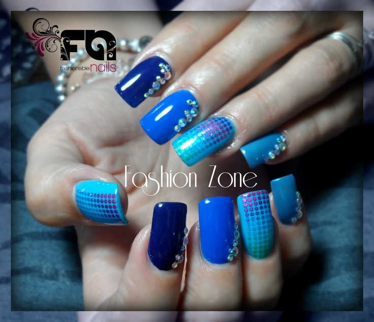 Nails. Azul profundo !!! Diseño hecho en Fashion Zone Monterrey ...