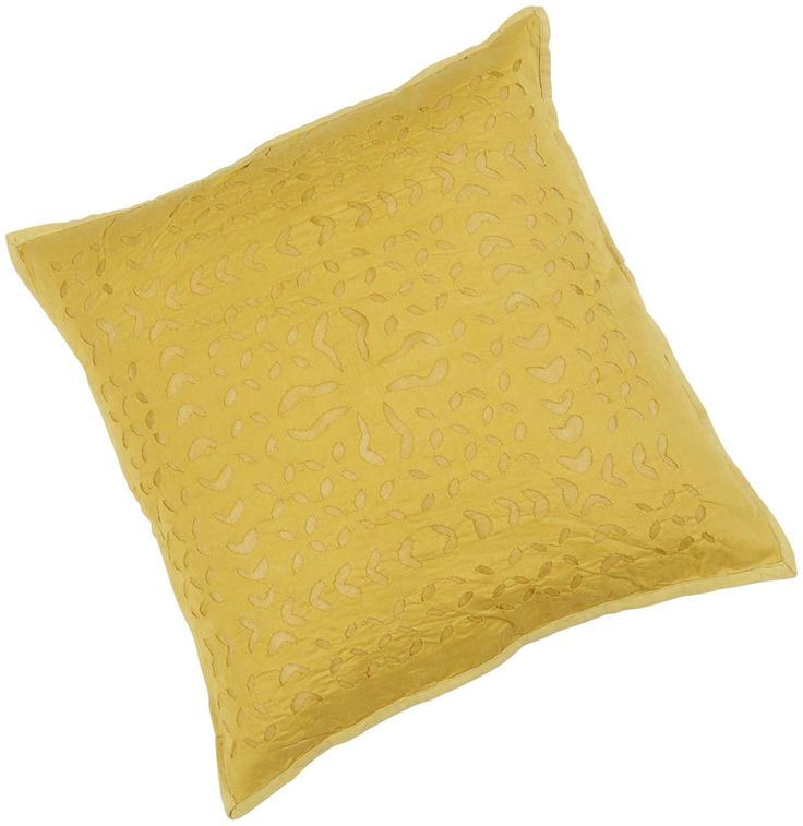 "Bulk Wholesale Yellow Cushion Cover in Pure Cotton – 16x16"" Hand-Stitched Throw Pillow Cover with Applique Work in Traditional Style Pattern – Decorative Pillow Case for Couches / Beds / Sofas – Home Décor from India  (Set of 4)"