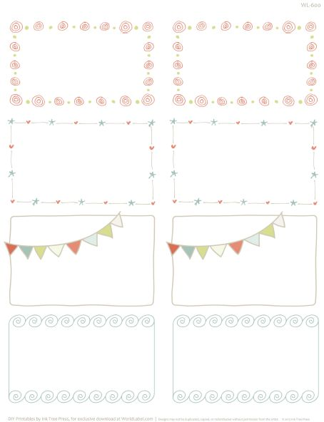 Printable Doodle Borders Labels By InkTreePress | Worldlabel Blog · Free  Label TemplatesFree ...