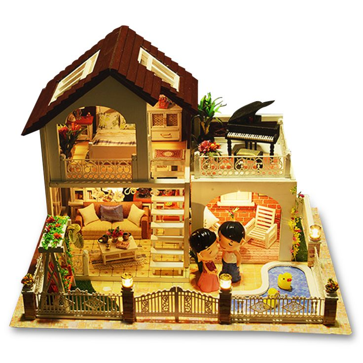 Perfect Holiday Miniature Villa Dollhouse Furniture Kits DIY Wooden Dolls House With Music And LED Lights Christmas Gift. Yesterday's price: US $75.99 (62.69 EUR). Today's price: US $72.19 (59.40 EUR). Discount: 5%.