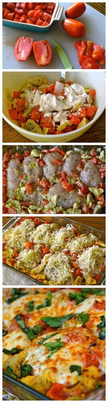 Easy Chicken Bake-Tomatoes, jar of artichoke hearts, ricotta cheese, chicken, mozzerella cheese and basil Like for more