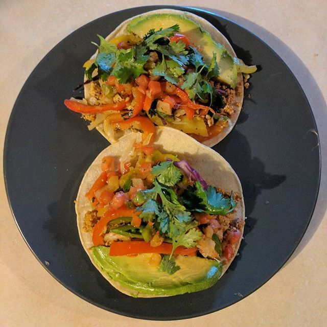 These tacos were fabulous. White corn tortillas, Papa G's taco tofu, red, yellow, and green bell peppers, cabbage, Pico de gallo, avocado, cilantro, and fresh squeezed lime juice. #vegan #whatveganseat #veganinstagram #plantbaseddiet #plantbased #veganrecipe #recipe #tacos #papags #healthy #nutrition Vegan Recipes from BEAUT.e See more recipes >>