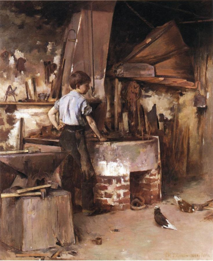 """""""The Apprentice Blacksmith"""", a.k.a. """"The Forge"""" (1886) by Theodore Robinson (b. June 3, 1852;  Irasburg, Vermont – April 2, 1896; New York City). Oil on canvas, h: 152.4 cm (60 in.), w: 127 cm (50 in.) Private collection  http://en.wikipedia.org/wiki/Theodore_Robinson"""