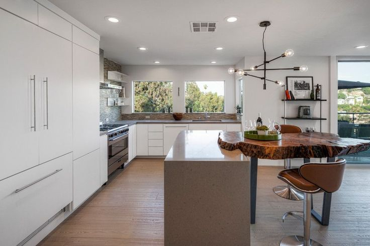 Rotary Dr, Silverlake : Contemporary Kitchen with a White Floating Shelves From Los Angeles by HLS Remodeling and Design Inc.. 10 Tree Slice Digital Image for a Eclectic Kids with a Playhouse