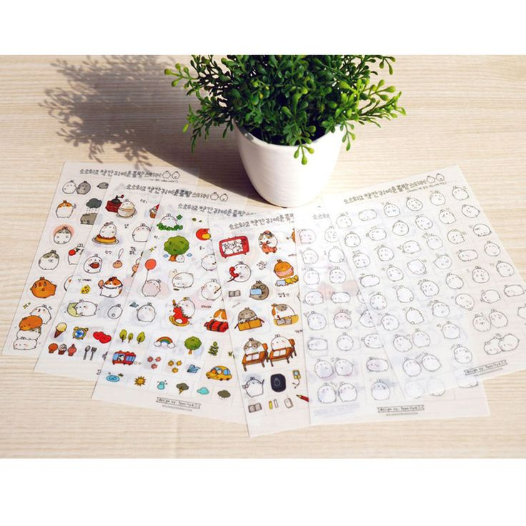 Molang Sticker Ver.1 6 Sheet Diary Letter Paper Decor Korea Cute Lovely Kawaii #Molang #Transparentstickers
