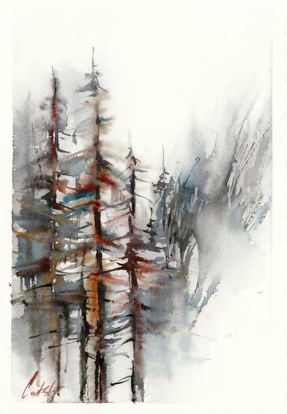 Forest Original Watercolor Painting Pine Trees Abstract Realism