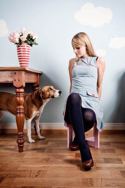 Knielange Kleider - Hellblaues 60er Jahre Jerseykleid - ein Designerstück von Peppermint_Patty bei DaWanda