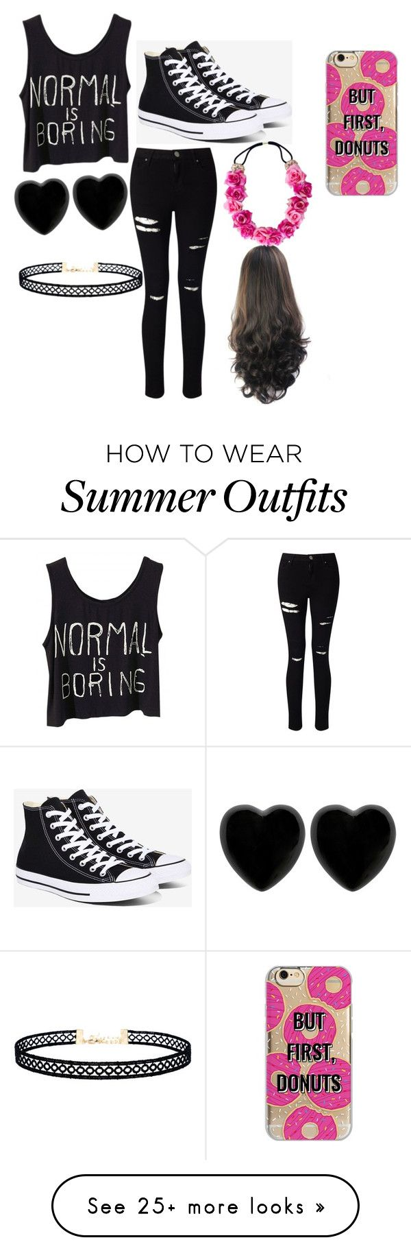 """First day of school outfit"" by toxicgummibear12 on Polyvore featuring Miss Selfridge, Converse, Dollydagger, LULUS and Agent 18"