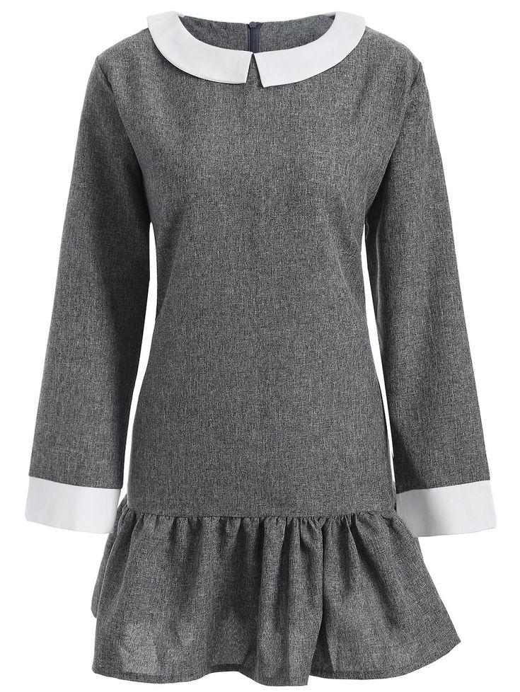 Plus Size Peter Pan Collar Dress, GRAY, 5XL/22-------20.96
