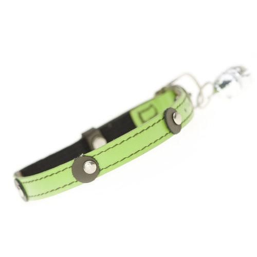 """""""Meet Moet, our funky lime leather cat collar. Moet's design features a detail of contrasting brown leather studded dots. """""""