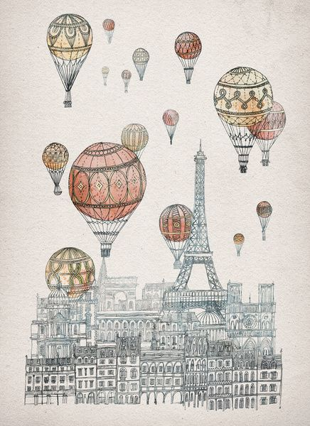 Voyages Over Paris Art Print $18.00