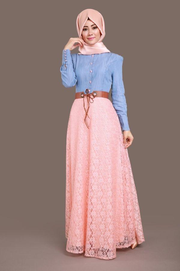 Benay Kot Detay Dantel Elbise Açık Kot&Somon Ürün Kodu: MSW09 --> 109.90 TL