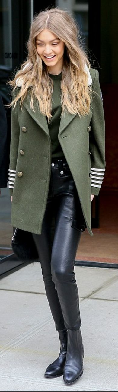 Who made Gigi Hadid's green coat?