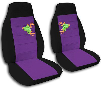 2 Black And Purple Frog Seat Covers