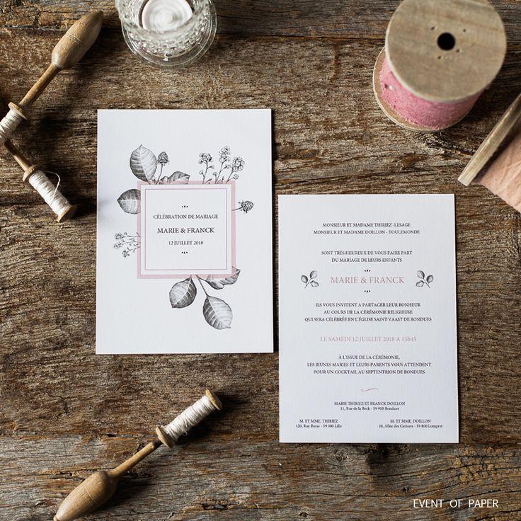 wedding invitation printing malaysia%0A Fairepart de mariage univers botanique MARIE ET FRANCK  Wedding  AnnouncementsWedding StationeryWedding InvitationsWedding