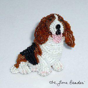 Beaded BASSET HOUND dog jewelry w/ floppy ears art pin pendant brooch Etsy bead embroidery