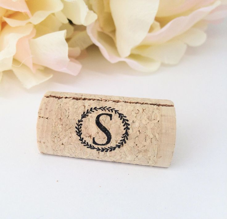printable wedding place cards vintage%0A Wreath Initial Monogram Personalized Wine Cork Place Card Holders  Front  Print Only  Weddings