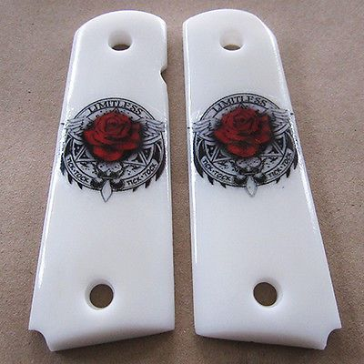 1911 Grips Fit Colt Kimber Clone Roses with Wings Custom Resin Grip Full Size