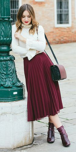 Olivia Purvis + femininity + gorgeous pleated skirt + perfectly seasonal shade of plum + collared blouse + Olivia + original and authentic fall style!   Top: & Other Stories, Skirt: ASOS, Bag: & Other Stories, Boots: River Island.
