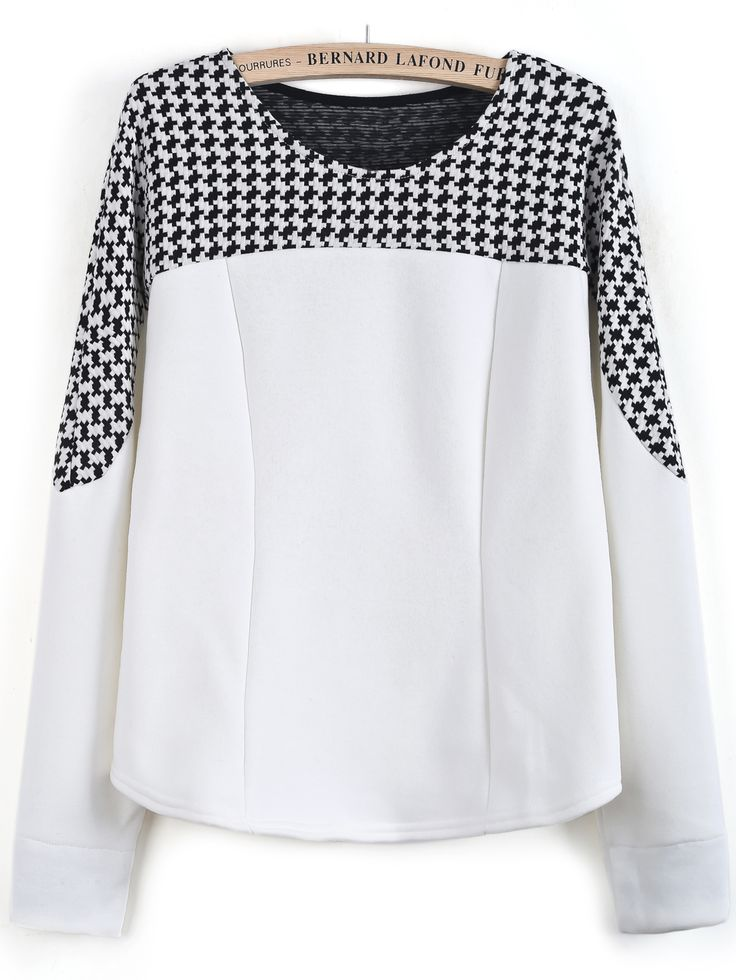 White Long Sleeve Contrast Houndstooth Blouse 0