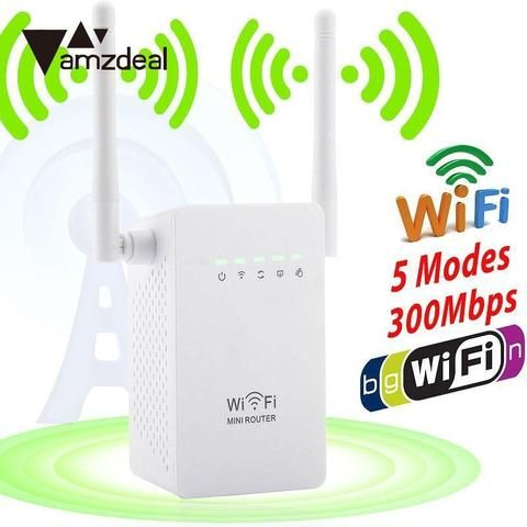 Amzdeal 300Mbps Wireless Extender Wifi Signal Booster