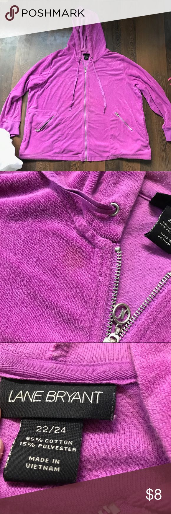 Lane Bryant jacket Orchid shade of purple, Lane Bryant women's jacket, good used condition, zip up front with drawstring hood, side pockets for hands and then little zipper pockets on those! Lane Bryant Jackets & Coats