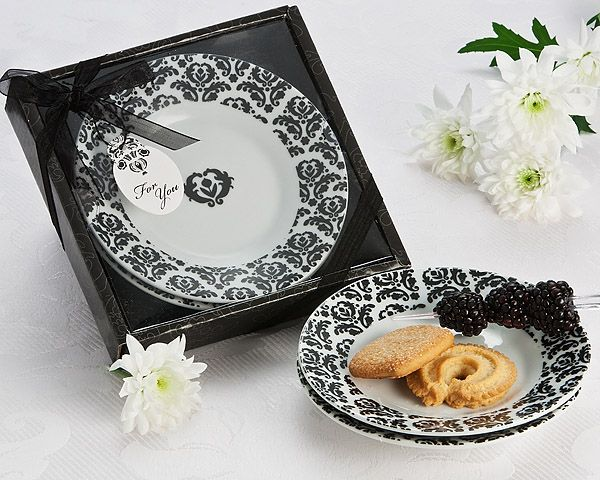 """""""Dramatic Damask"""" Party Dish Favor (Set of 2)"""