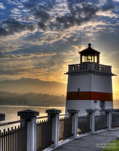 Stanley Park Lighthouse  - Vancouver, BC. Canada - Sun Is Rising
