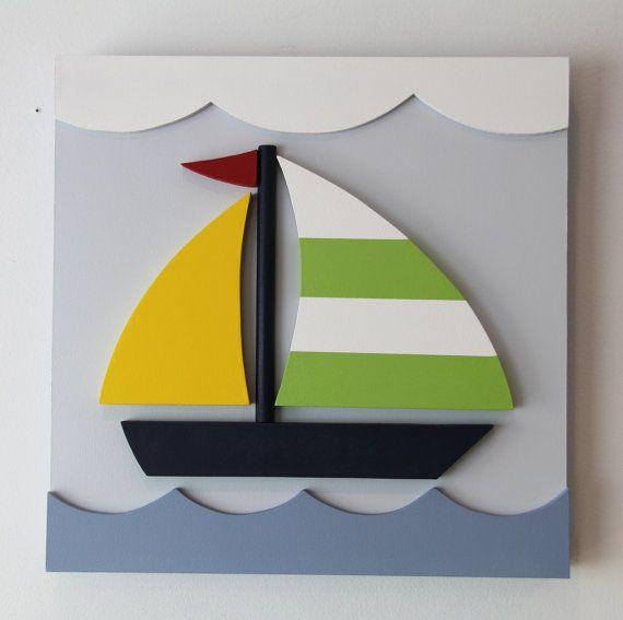 Velero madera 3D niños arte de la pared de la sala por EleosStudio