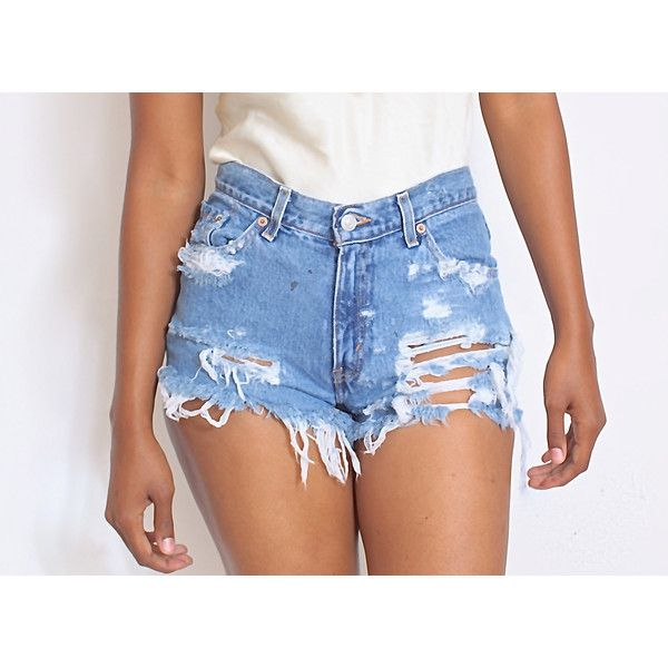 All Sizes Custom Made Destroyed Dirty Ripped Distress Daisy Dukes High... ($40) ❤ liked on Polyvore