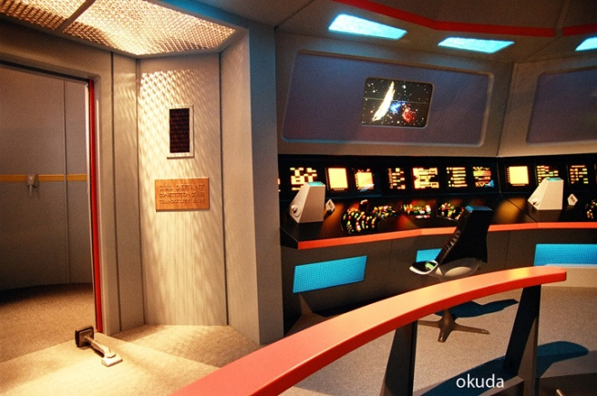 "For the ""Enterprise"" episode ""In A Mirror, Darkly"" the 700th live action story, the craftsmen recreated the bridge of the USS Defiant (Constitution class). To do so and not make it look cardboardy, they made some subtle changes.  http://drexfiles.wordpress.com/2009/01/18/enttos-defiant-bridge-in-okudavision/#more-1664"