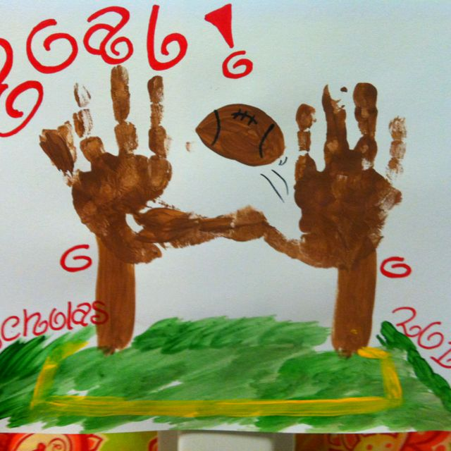 Handprints as football goal posts! Did these this week.
