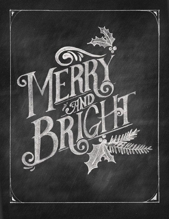 merry  u0026 bright chalkboard art printable