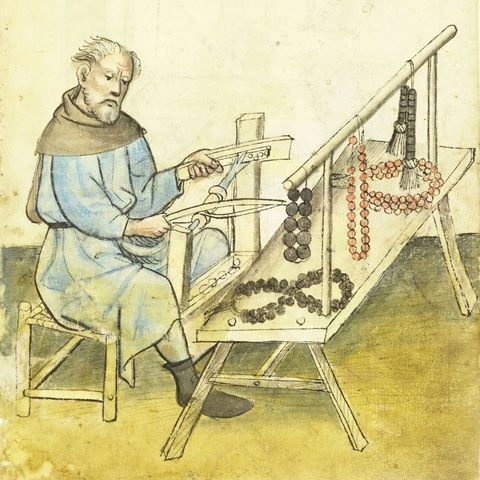 """""""Medieval rosaries were frequently made from bone beads. The [above picture shows] the making of wooden or bone paternoster beads: The beads were drilled from cheap animal bones. Many leftovers of the bone bead production were found in Konstanz."""""""