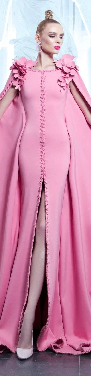 Nicolas Jebran ~ Elegant Couture Pink Fitted Gown with deep front slit + Cape 2015