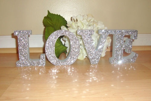 self standing wooden glitter letters boy girl baby name wood wedding i