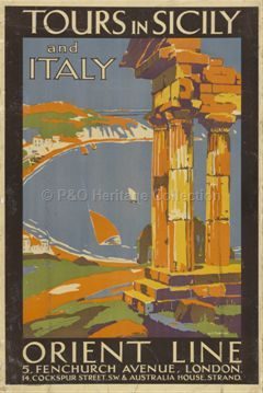 Tours in Sicily and Italy, Orient Line, London. #sicilyvintageposters #visitsicily