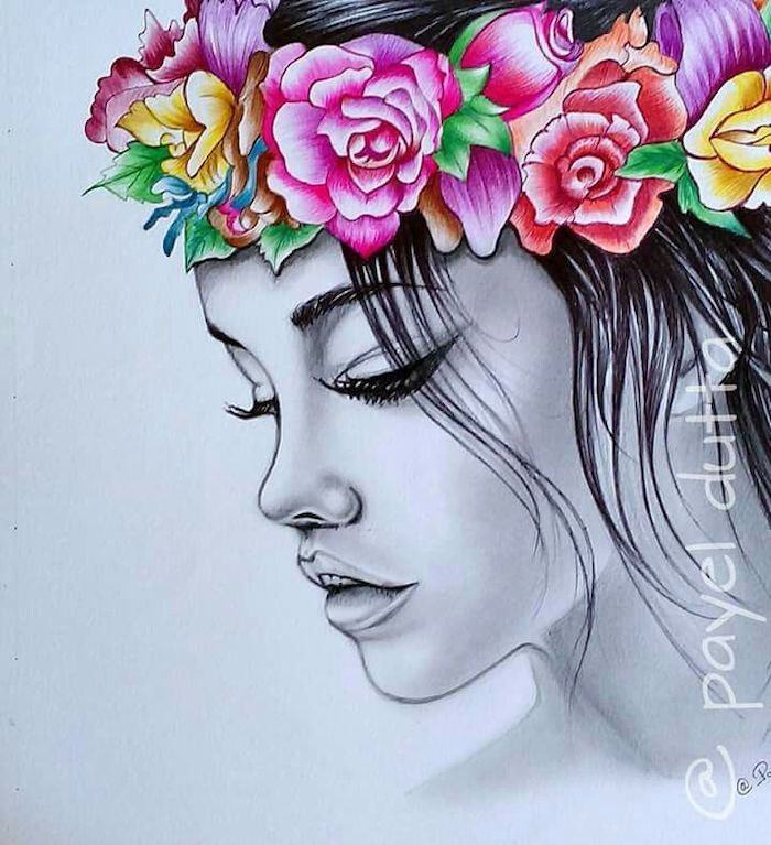 Woman With A Flower Crown How To Draw A Rose Easy White Background In 2020 Flower Drawing Beauty Art Drawings Cute Flower Drawing