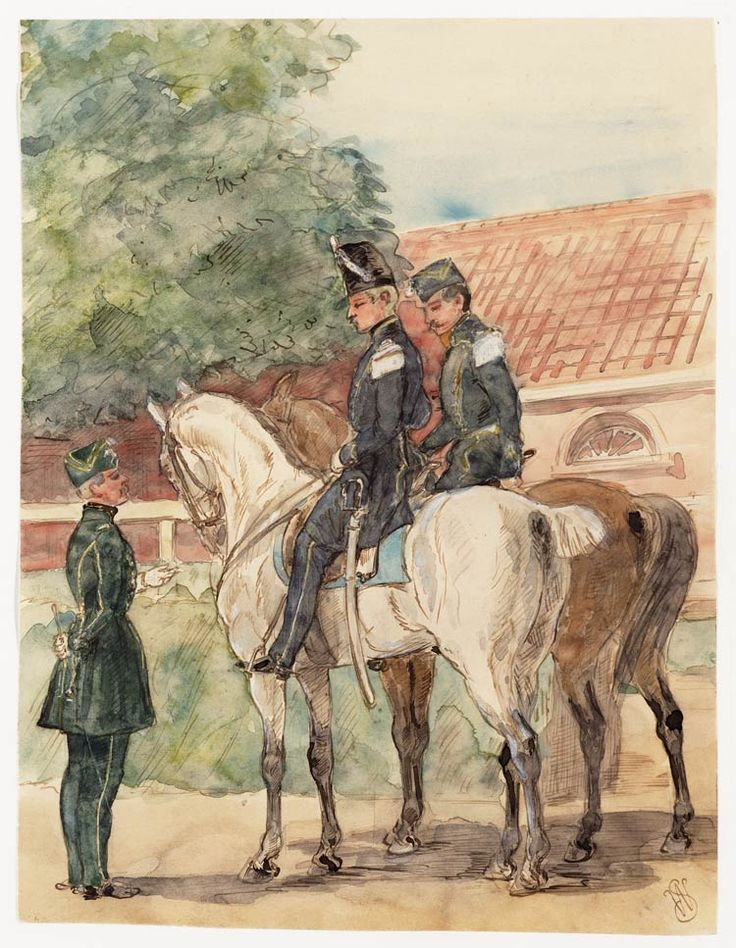 Twee officieren van de Lansiers met veldmuts en een officier van de Jagers te Paard