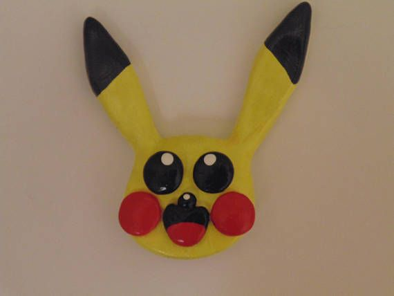 Handmade Pikachu Face Magnet available at yumjellydonuts.etsy.com   #handmade, #etsy, #pichu, #Pikachu, #raichu, #pokemon, #magnet, #gift, #polymerclay