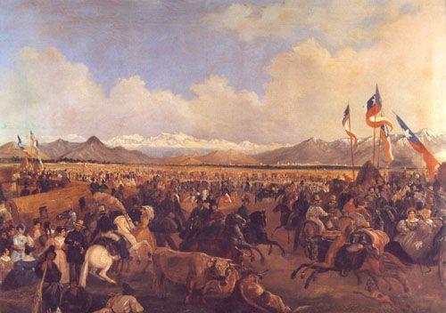 Mauricio Rugendas - La llegada del presidente Prieto a la Pamilla