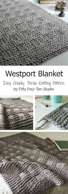 Westport Blanket - easy chunky throw blanket knitting pattern. Made with super bulky yarn so it knits up very quickly! Pattern includes instructions for 5 sizes. Shown knit with Lion Brand Hometown USA yarn in 'Dallas Grey'.
