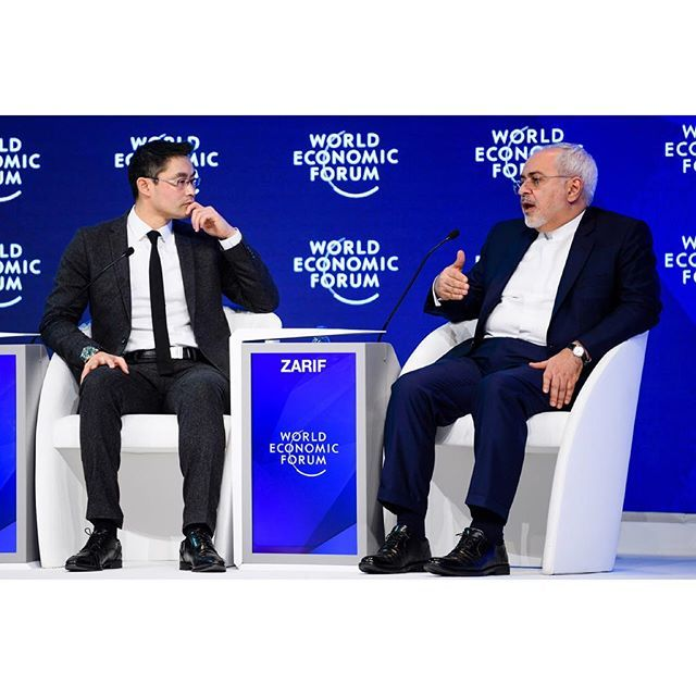 Mohammad Agha Nahavandian, Chief of Staff of the Presidency of the Islamic Republic of Iran; Javad Zarif, Minister of Foreign Affairs of the Islamic Republic of Iran; Philipp Rösler, Head, Regional and Government Engagement, Member of the Managing Board, World Economic Forum at the Annual Meeting 2017 of the World Economic Forum in Davos, January 18, 2017. Copyright by World Economic Forum / Manuel Lopez #worldeconomicforum #am #am17 #wef #davos