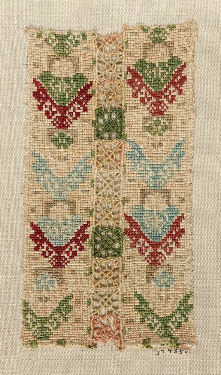 Skirt decoration (one of two fragments)      Greek (Cyclades, Anaphe or Siphnos), 17th–18th century       Anaphe or Siphnos, Cyclades, Greece ,     Embroidery
